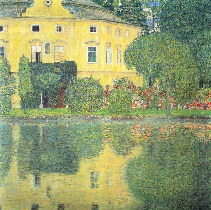 Замок на озере Атерзе. (1910 год).  Автор: Gustav Klimt.