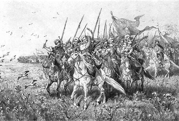 """Поход армии Хмельницкого и Тугай-бея """"на ляхiв"""". Иллюстрации к роману «Огнем и мечом» Юлиуша Коссака."""