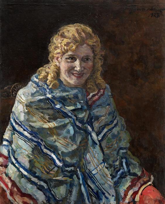 Портрет Анны Кондратьевны Рейхштадт в голубой шали. 1927 год. Автор: П. П. Кончаловский.