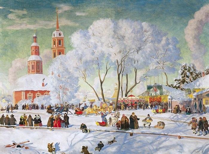 «Масленица». 1920 год. Художник Б. М. Кустодиев.