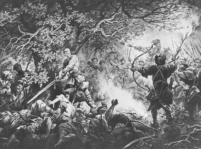 <br>Подбипятка один сражается против превосходящей силы противника. Иллюстрации к роману «Огнем и мечом» Юлиуша Коссака.