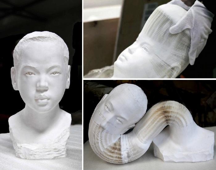 «Живые» бумажные скульптуры от китайского скульптора Ли Хунбо.
