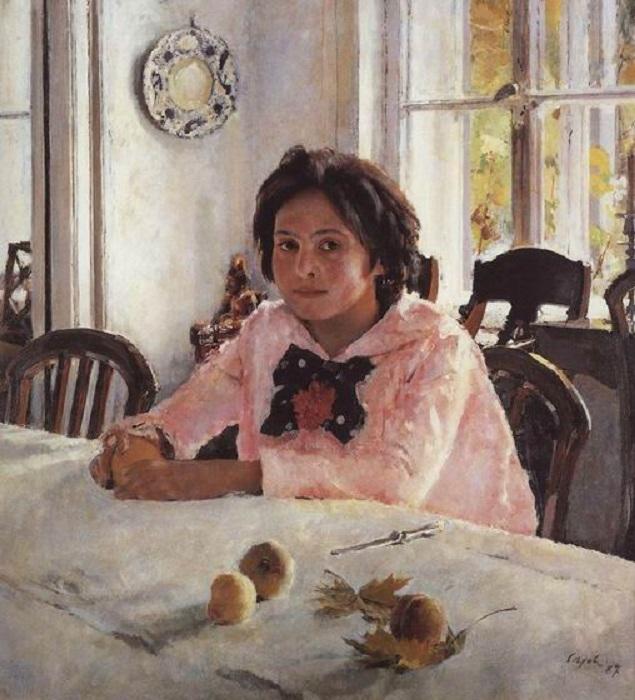 Девочка с персиками. Автор: Валенин Серов.