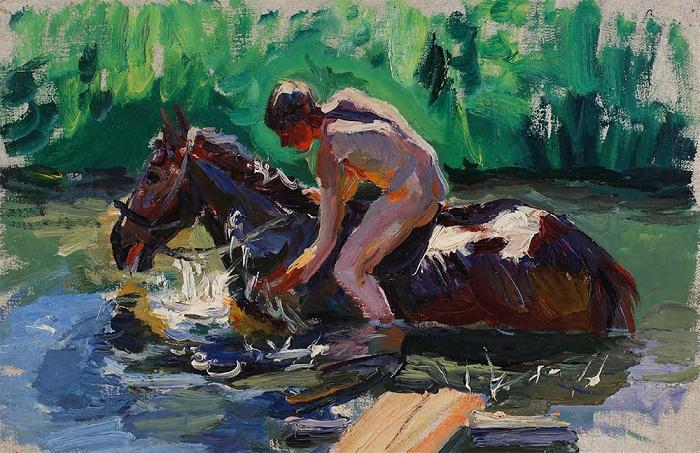 Этюд к картине «Купание коней». (1937–1938 г.г.) Автор: А.А.Пластов.