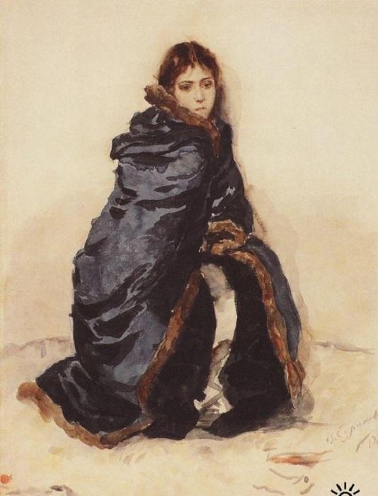 Старшая дочь Меншикова, написанная с жены художника. Эскиз. 1882 год. Автор: Василий Суриков.
