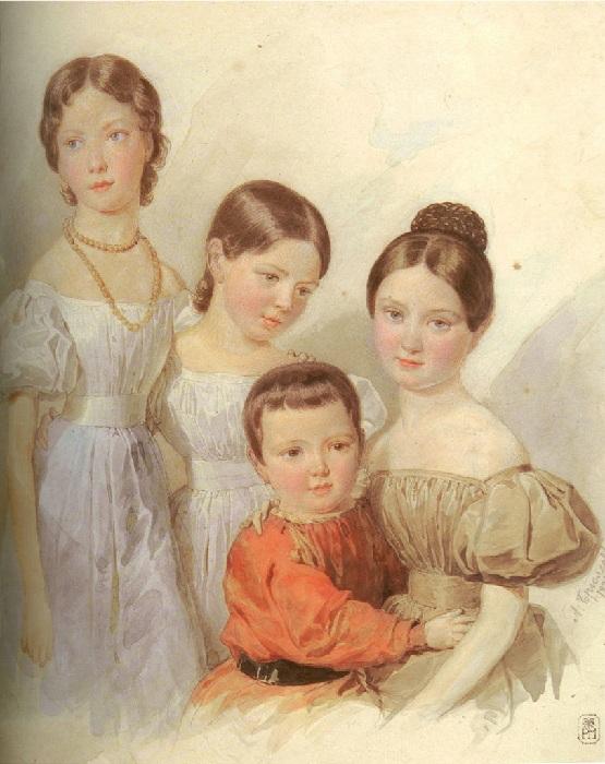 Потрет детей генерала Ф.Ф.Шуберта, племянников художника. Автор: Александр Брюллов.