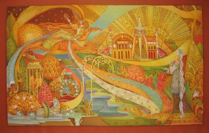 «Владения осени». Холодный батик. Автор: Любовь Тощева.
