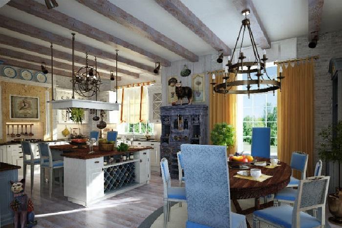 Кухня и столовая в стиле прованс. | Фото: domzamkad.ru.