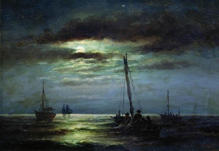 «Пейзаж с лодкой и месяцем», 1891 Частное собрание. Автор: Александр Беггров.