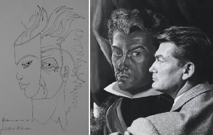 Рисунок Жана Маре и фото с автопротретом.