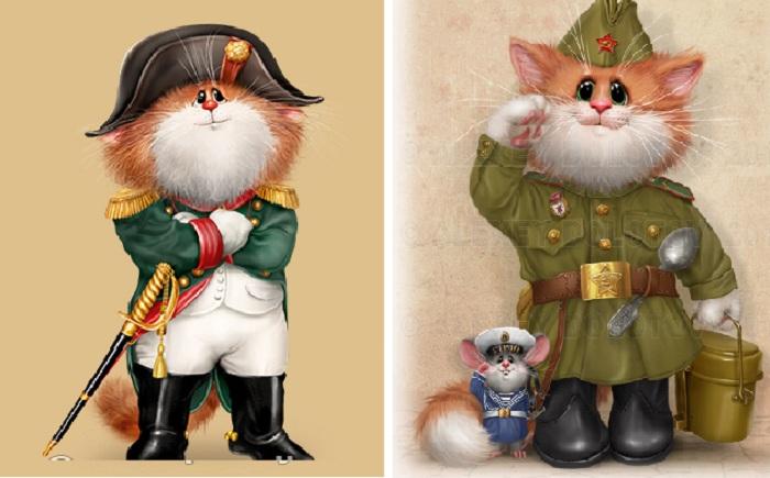 Наполеон. / Ешь пшённую кашу, крепи оборону нашу! Кошачий арт от Алексея Долотова.