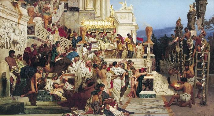 «Светочи христианства». («Факелы Нерона»). (1876год). /В 1879 году это полотно художник подарил Кракову, чем инициировал создание Национального музея./  Автор: Генрих Семирадский.