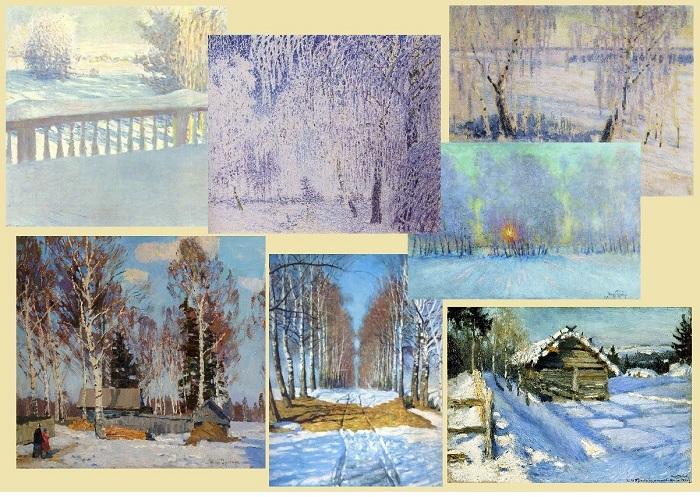 Цикл зимних пейзажей.  Автор: Игорь Грабарь.