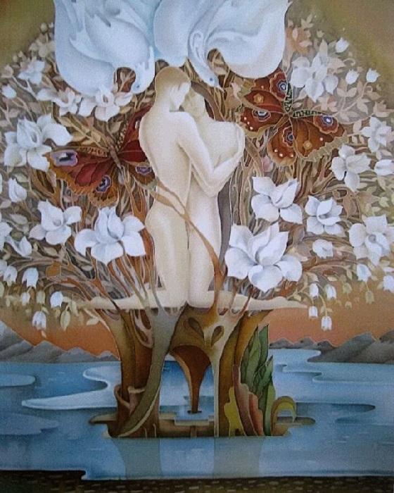 «Цветение.  Холодный батик. Автор: Любовь Тощева.
