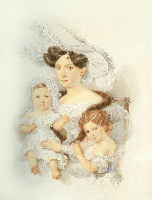 Е.Н.Чернышёва с дочерьми. Автор: Александр Брюллов.