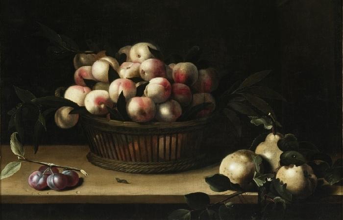 Корзина с персиками, айва и слива. (1641 год.) 66 х 84.6 Дерево, масло. Лос-Анджелес, музей LACMA.  Автор: Луиза Муайон.