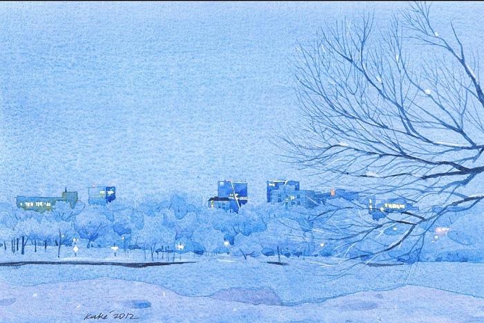 Зимние акварели от Bhupinder Singh.