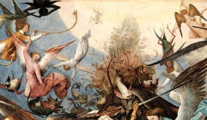 «Падение мятежных ангелов». Фрагмент. (Сверкающий светлый шар, символизирующий собой Небеса.)