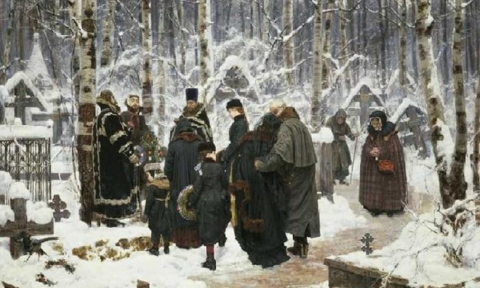 «Панихида в 9-й день на кладбище». (1885 год). Автор: К.А.Савицкий.