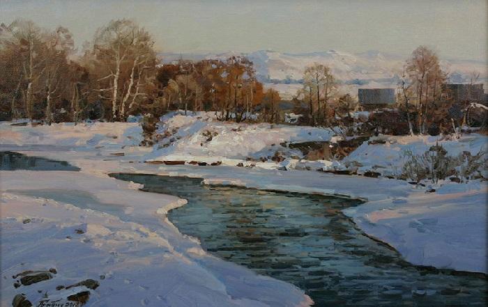 «Горная река зимой». Художник: Александр Иванович Бабич. | Фото: art-katalog.com.