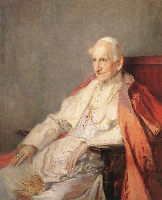 Его Святейшество, Папа римский Лев XIII, 1900 год). Автор: Филипп Алексис де Ласло.