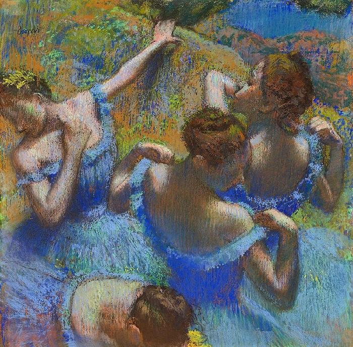 «Голубые танцовщицы». (1897 год). Бумага, пастель. 65 х 65 см. Художник: Эдгар Дега.