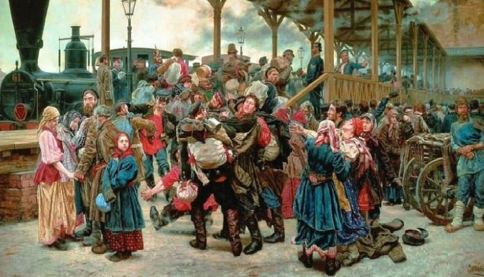 «На войну». (1888 год). Автор: К.А.Савицкий.