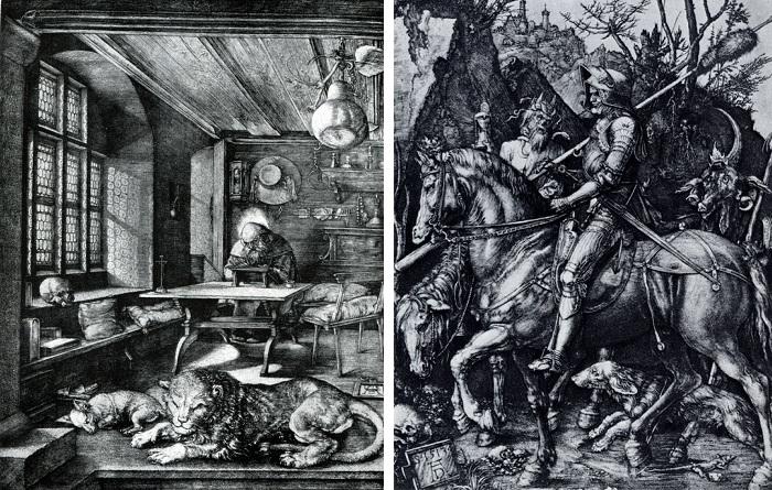 «Святой Иероним в келье» Гравюра на меди. (1514). ¦ «Рыцарь, смерть и дьявол». Гравюра на меди. (1513). Автор: А. Дюрер. ¦ Фото: livejournal.com.