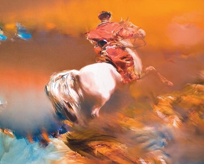 Воин-всадник. Из цикла «Шелковый путь». Автор: Валерий Блохин.