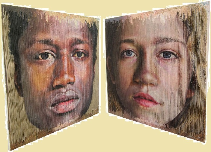 Мужчина и женщина. Трехмерные портреты художника Серджи Каденаса. | Фото: realsworld.com.