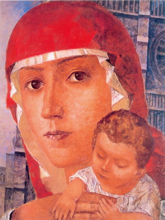 «Мадонна с младенцем». (1923 год). Из серии многочисленных работ, посвященных Мадонне. Автор: Кузьма Петров-Водкин.