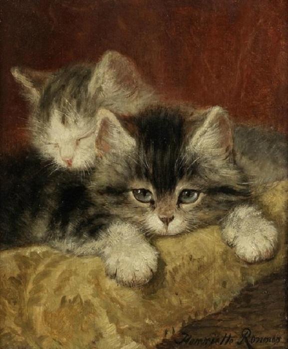 Этюд с кошками. 1902. Автор: Генриетта Роннер-Книп.