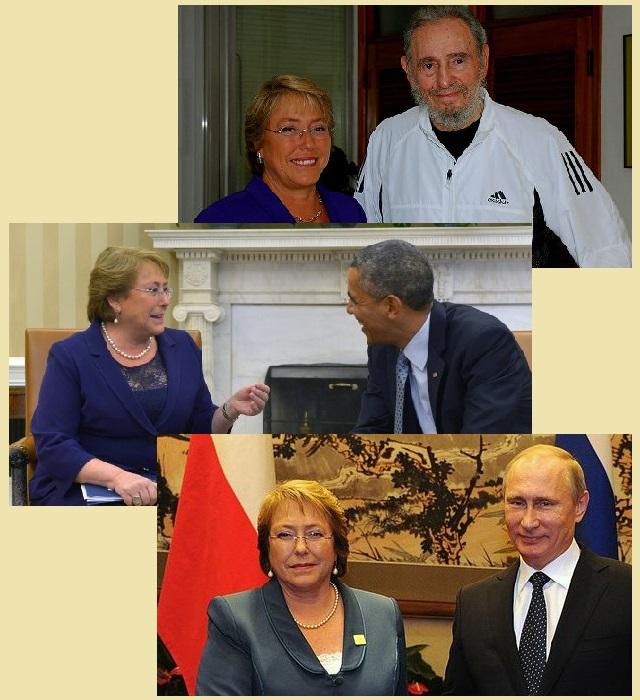 Мишель Бачелет с главами государств во время встреч в рамках дружеских визитов.