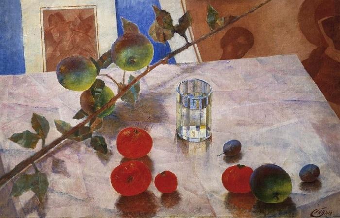 Розовый натюрморт. Ветка яблони. (1918). Автор: Кузьма Петров-Водкин.