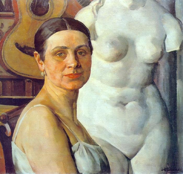 Портрет жены Ñудожника, Екатерины Алексеевны.  Автор: Константин Юон.