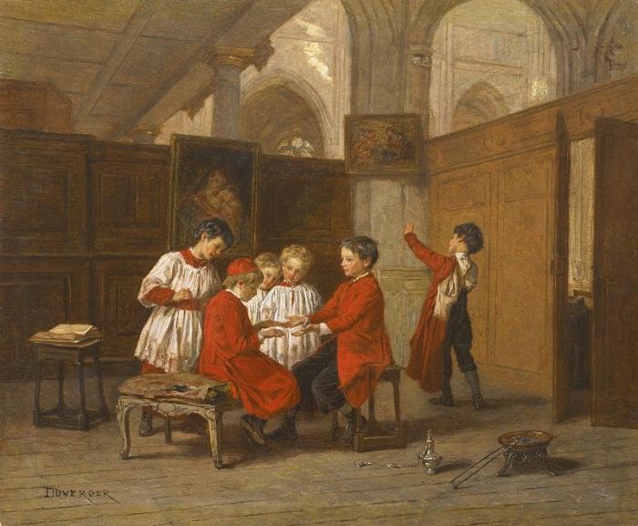 Теофиль Эммануил Дювергер (1821-1886). Франция. Хор детей в ризнице.