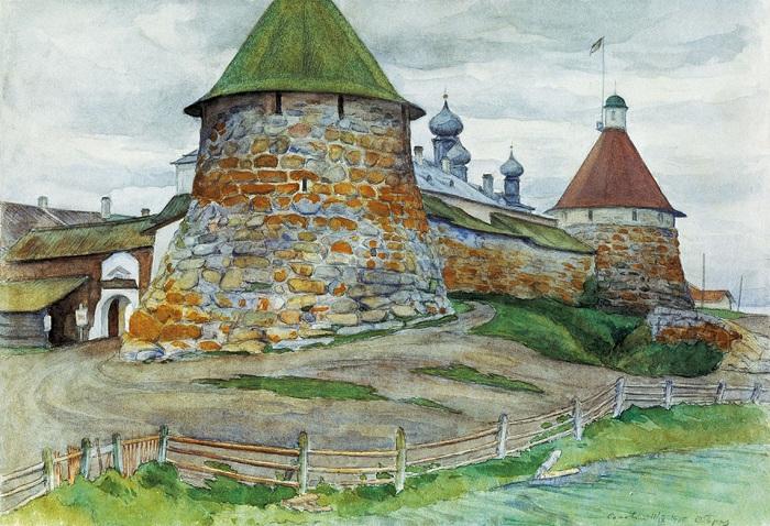 Вид на Соловецкий монастырь. Соловки. (1925 год). Автор: Осип Эммануилович Браз.