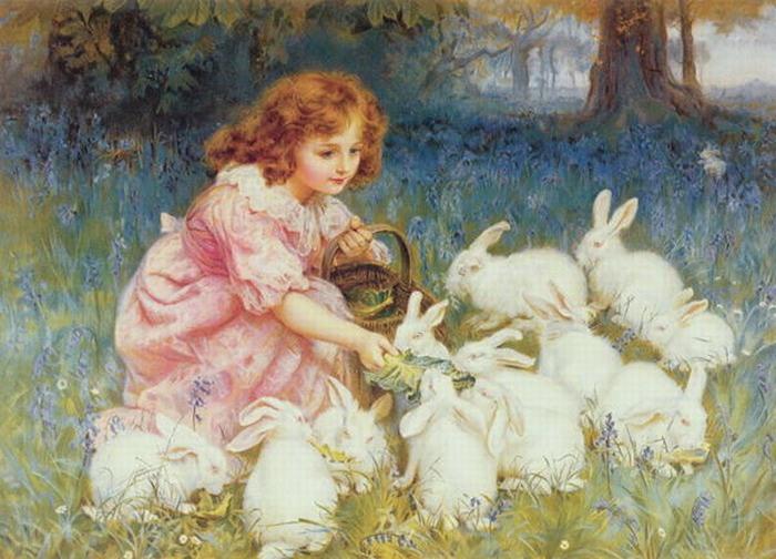 Кормление кроликов. Автор: Фредерик Морган.