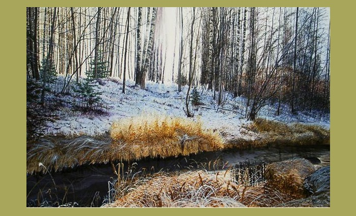 Первый снег. Художник: Константин Романов.   Фото: usenkomaxim.ru.