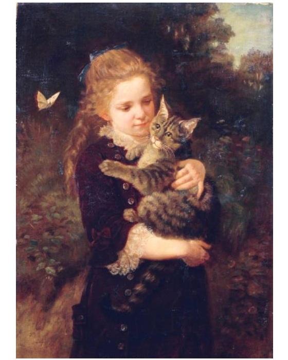 Девочка с кошкой. Автор: Николай Бодаревский.