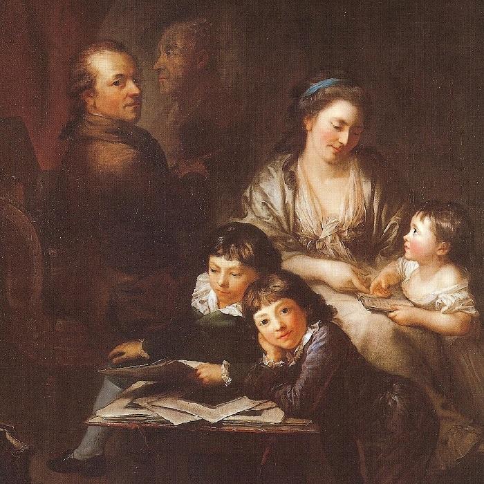 Автопортрет, Антон Графф и его семья (1785 год). Музей Оскара Рейнхарта в Винтертуре. Художник: Anton Graff.