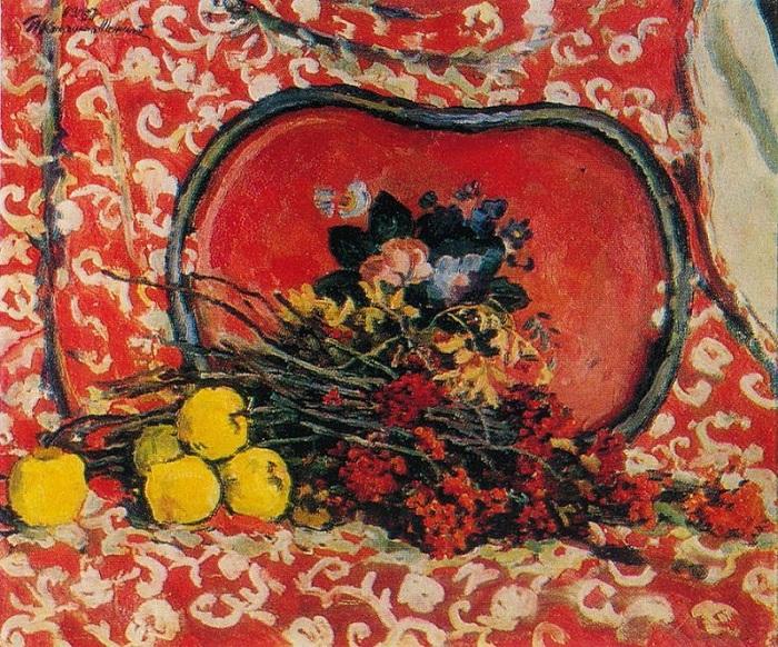 Натюрморт. Красный поднос и рябина. 1947 год.  Автор: П. П. Кончаловский.