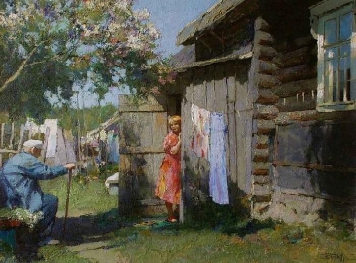 В деревне Феликсово. Художник: Юрий Васендин.