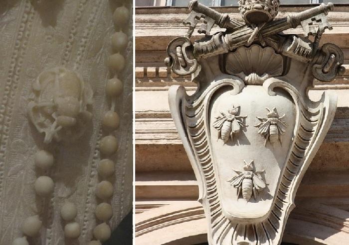 «Мария Барберини». Фрагмент. (Брошь в виде пчелы.)  / Фамильный герб семейства Барберини.