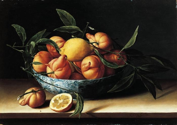 Натюрморт с миской апельсинов кюрасао. (1634 год.) 46.4 х 64.8 Дерево, масло. Пасадена, музей Нортона Саймона. Автор: Луиза Муайон.