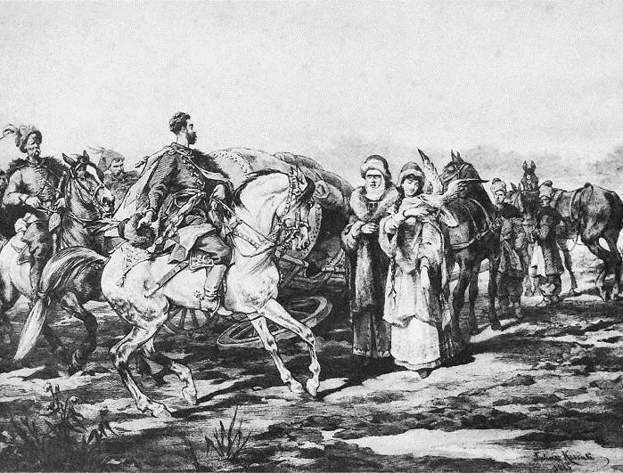 Самая первая встреча Скшетуского с княжной Курцевич. Иллюстрации к роману «Огнем и мечом» Юлиуша Коссака.