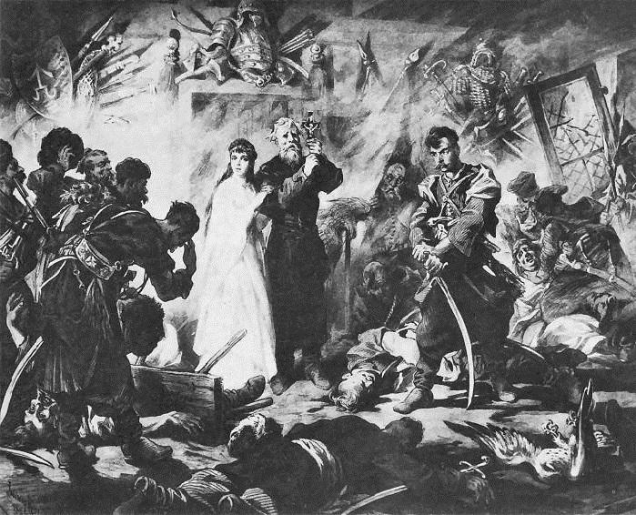 Погром в Разлогах. Иллюстрации к роману «Огнем и мечом» Юлиуша Коссака.