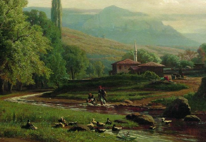 «Крымский летний пейзаж». (1870 год). Художник: Владимир Орловский.