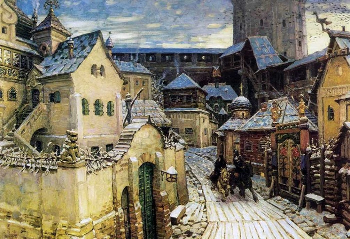 Гонцы. Ранним утром в Кремле. Начало XVII века. Автор: Аполлинарий Васнецов.