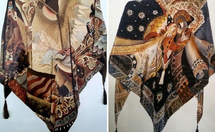 Косынки «Египет» и «Двое». Ручная роспись. Натуральный шелк. Холодный батик. Автор: Любовь Тощева.